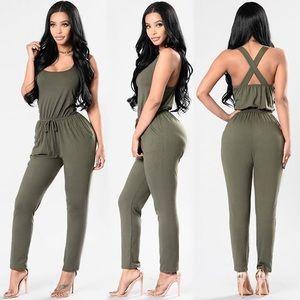 Fashion Nova olive jumpsuit